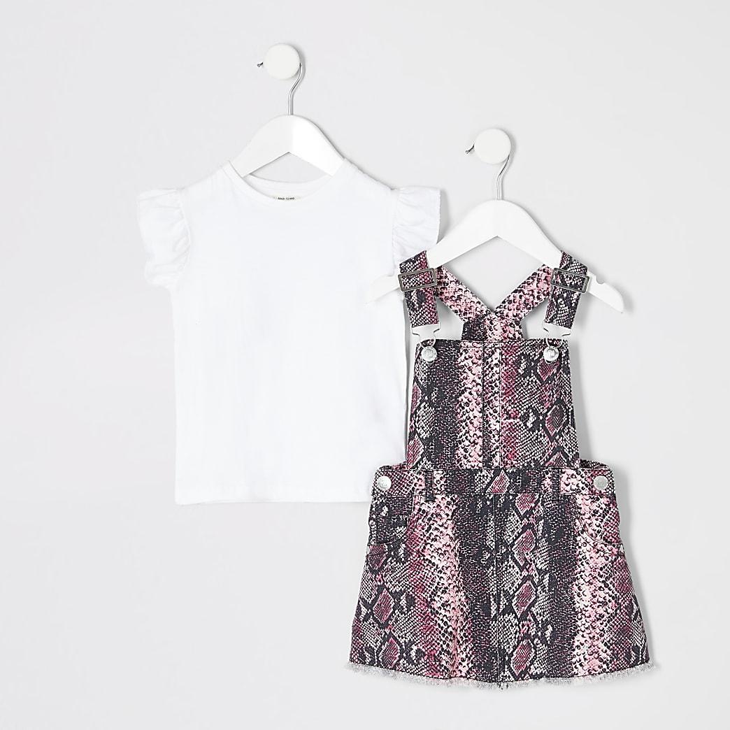 Mini girls snake print pinafore dress outfit