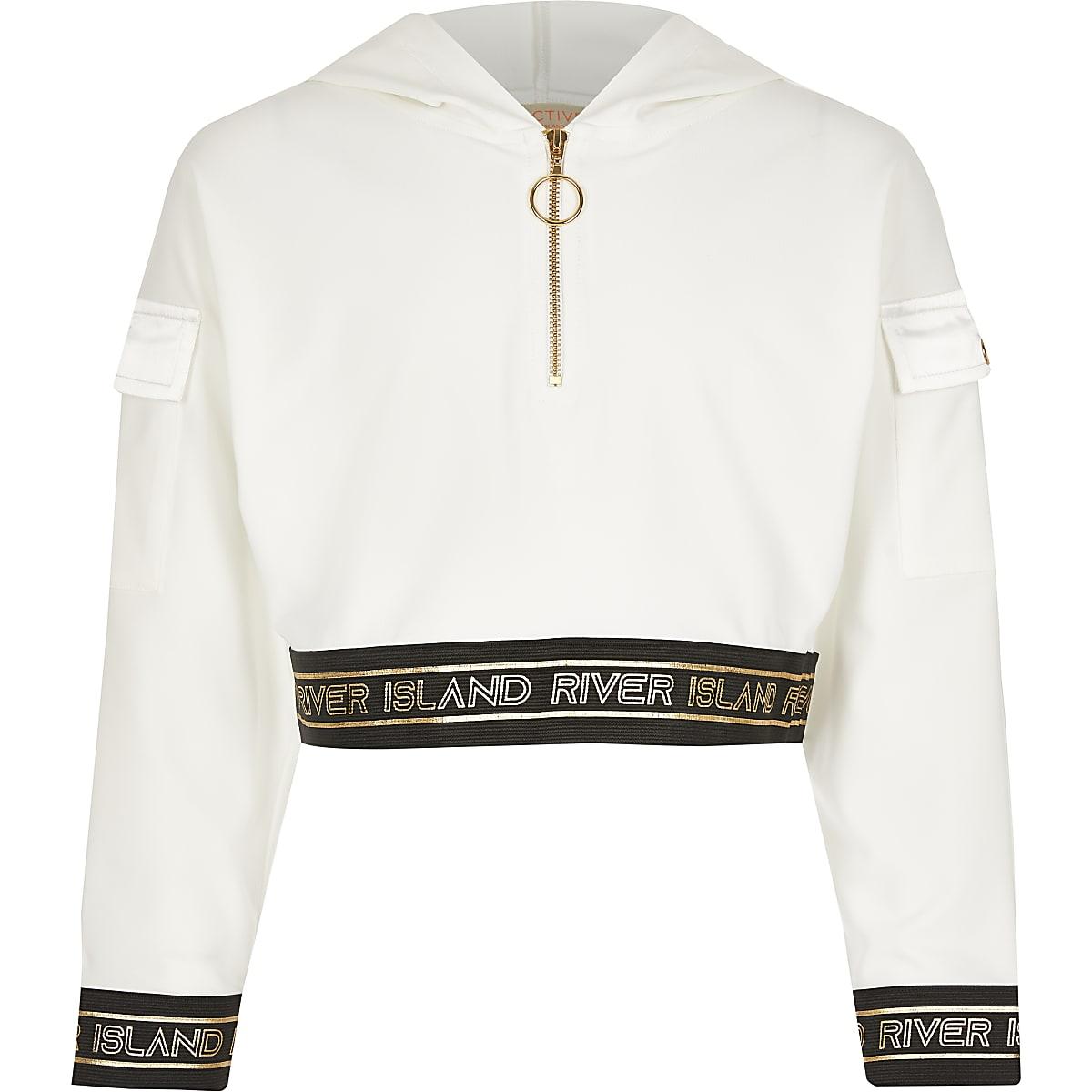 Girls white RI Active zip utility hoodie