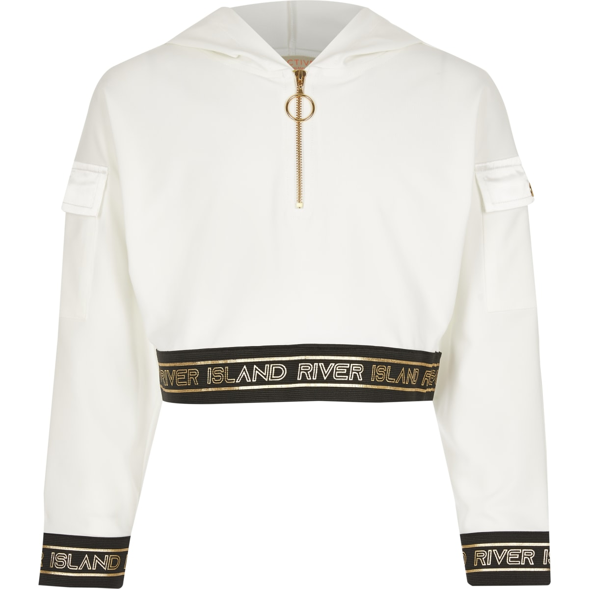 Witte RI Active utility-hoodie met rits voor meisjes