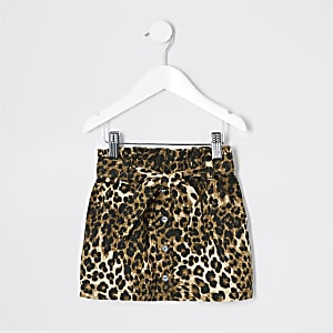 Mini girls brown leopard print paperbag skirt