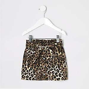 Jupe imprimé léopard marron à taille haute ceinturée mini fille