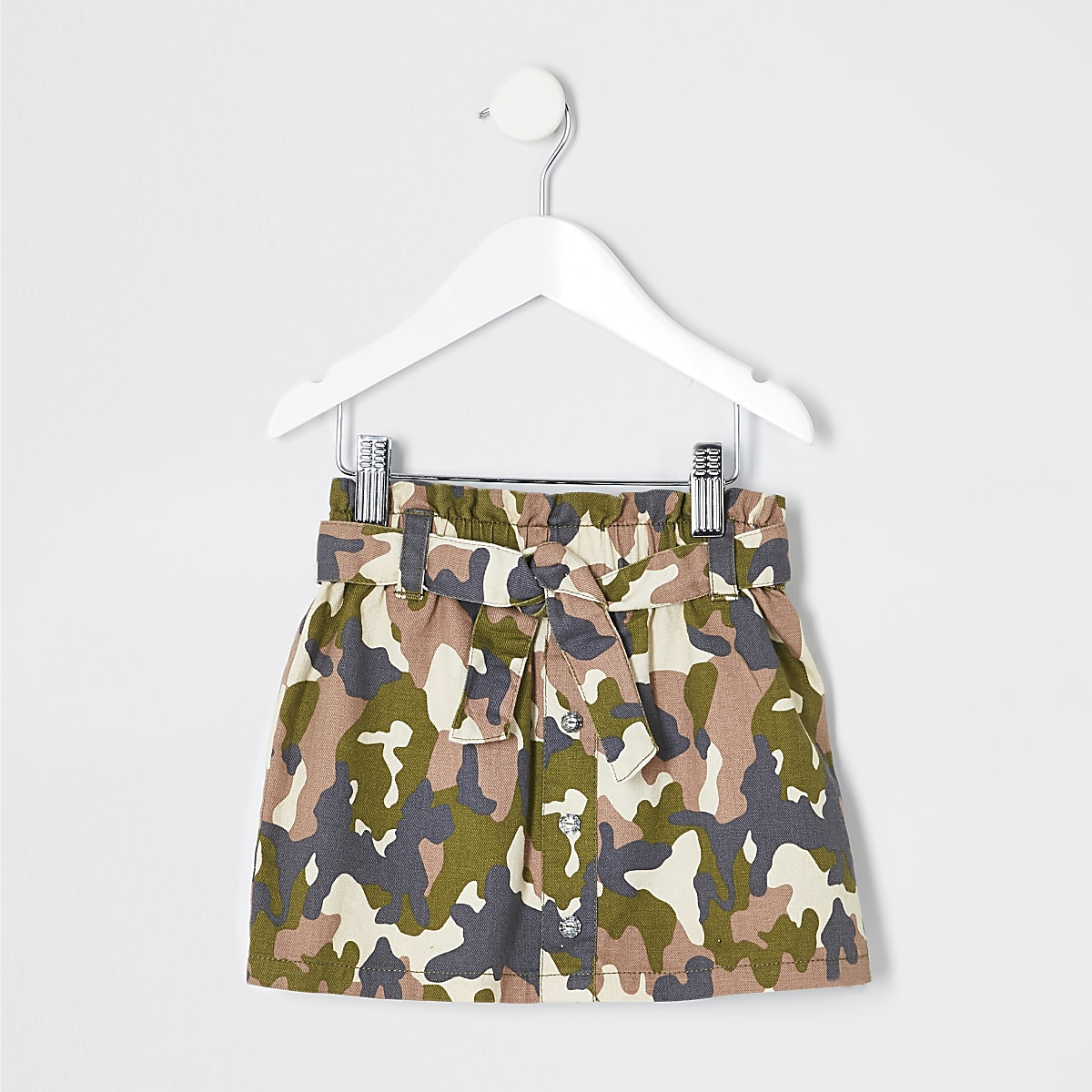 Mini girls khaki camo print paperbag skirt