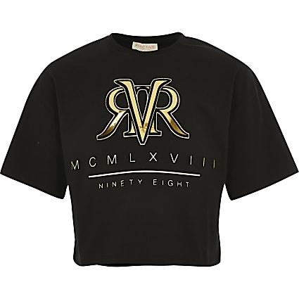 Girls black RI cropped T-shirt
