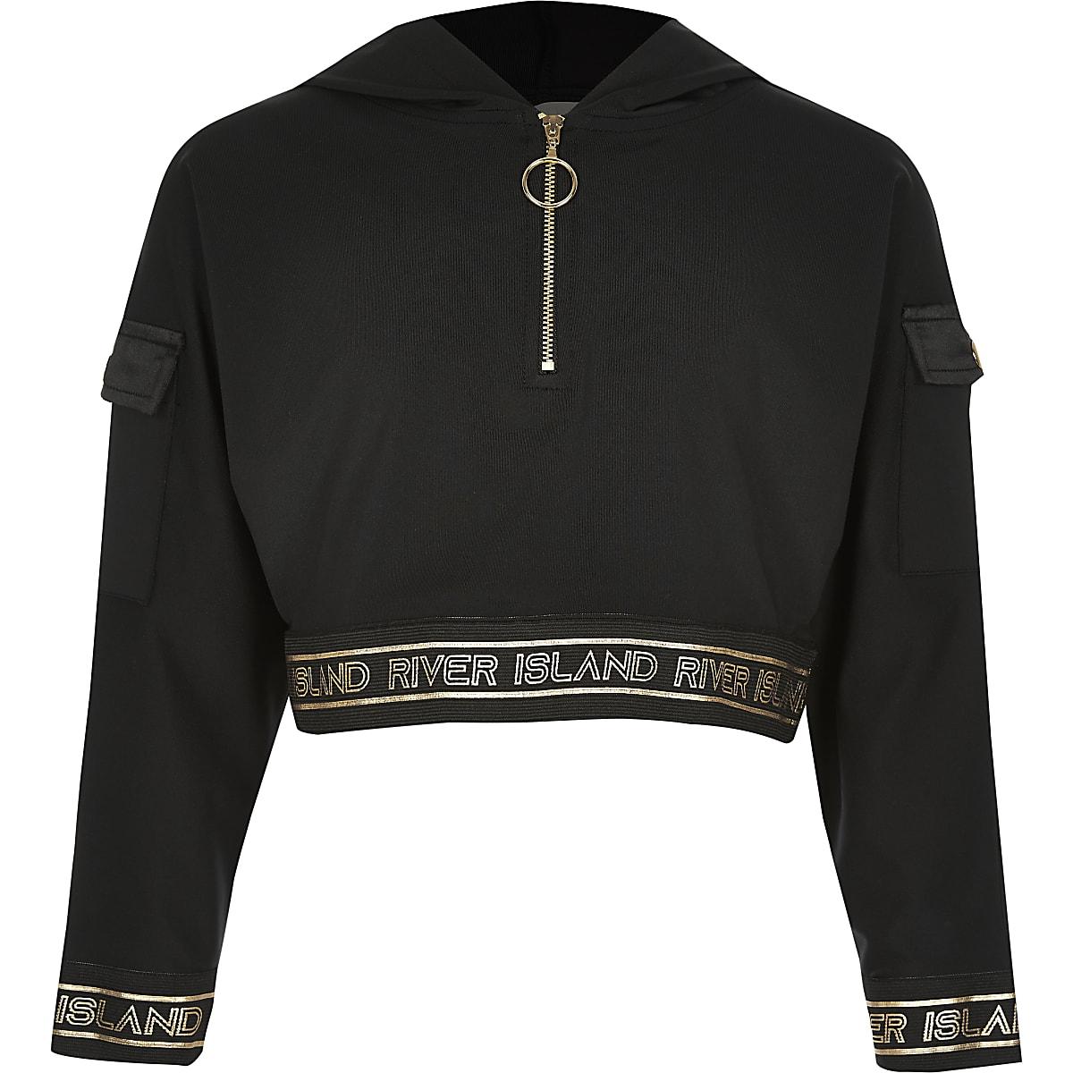 Girls RI Active black zip utility hoodie