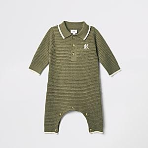Strick-Einteiler in Khaki mit RI-Stickerei für Babys
