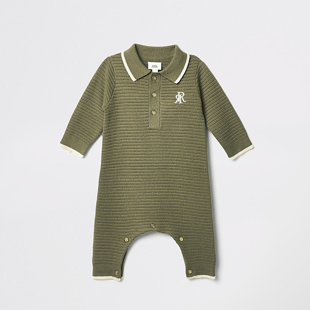 Baby khaki RI embroidered knitted baby grow