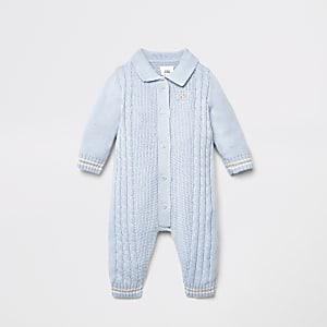 Tricot torsadé boutonné sur le devant bleu pour bébé