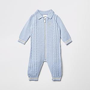 Tricot torsadé zippé sur le devant bleu pour bébé