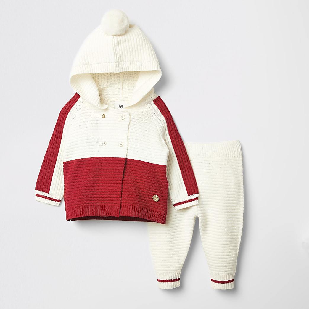 Baby red blocked knitted cardigan outfit