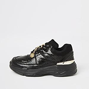 Zwarte metallic sneakers met krokodillenprint voor meisjes