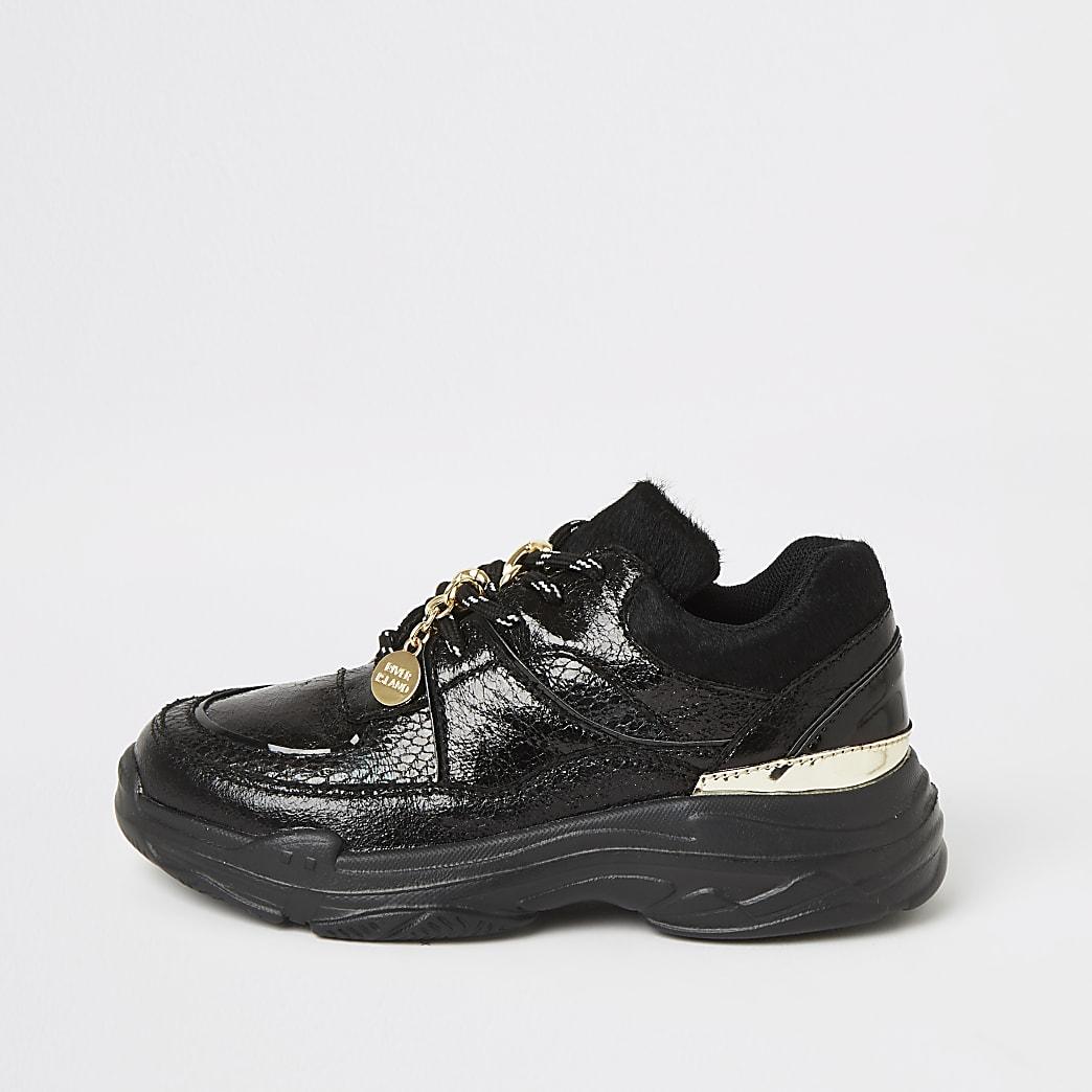 Girls black metallic croc trainers