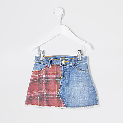 Mini girls blue tartan check denim skirt