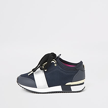 Mini girls navy runner trainers