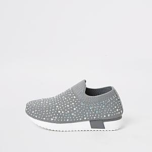 Verzierte Sneaker in Grau für kleine Mädchen