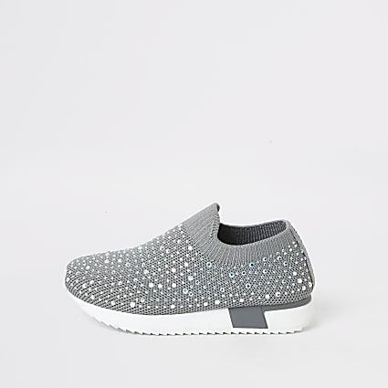 Mini girls grey embellished runner trainers