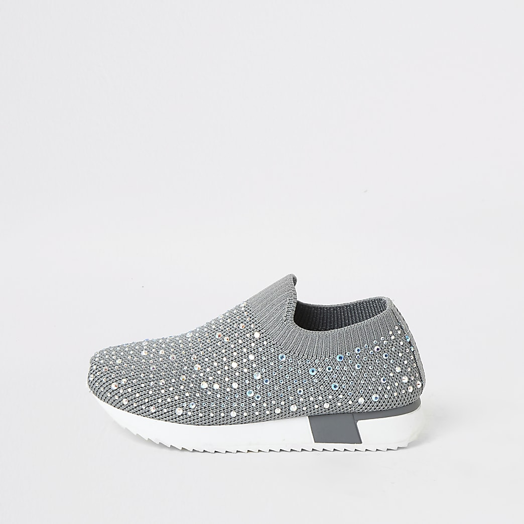 Mini girls grey embellished runner trainers