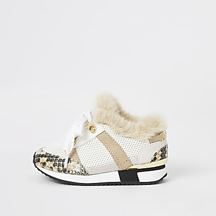 Mini girls grey faux fur lined runner trainer