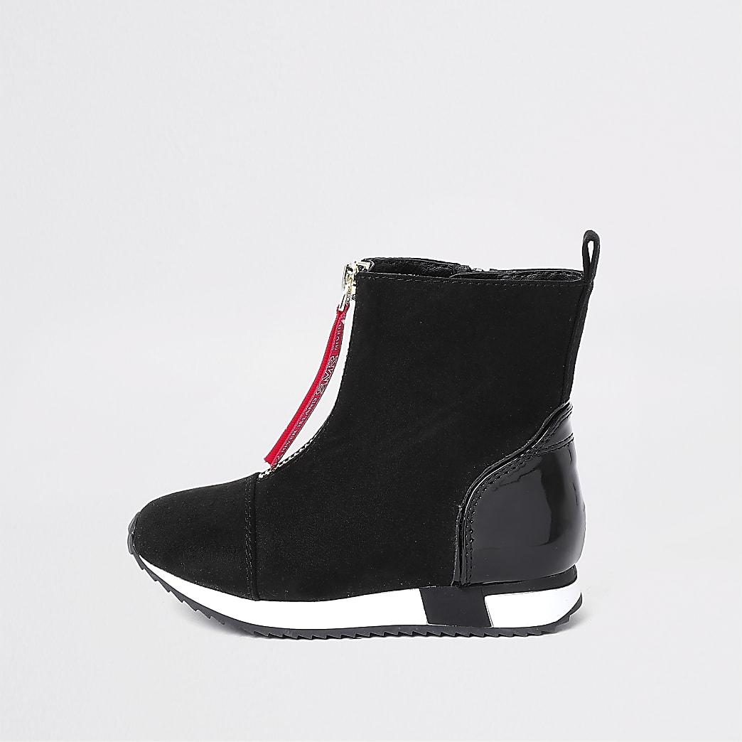 Mini - Zwarte hoge sneakers voor meisjes met rits voor