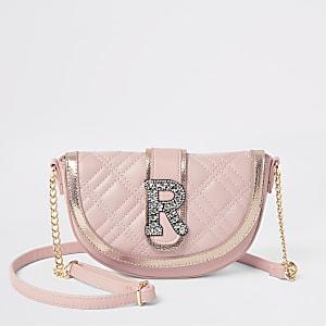 Girls pink embellished cross body bag