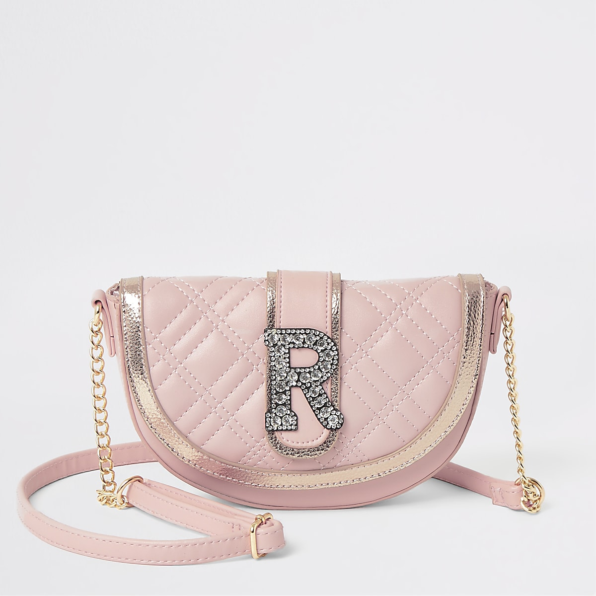 Girls pink embellished cross body bag