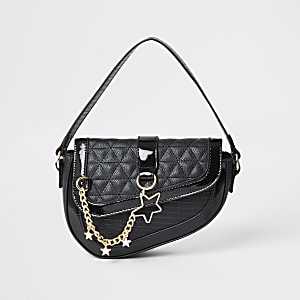 Girls black saddle shoulder bag