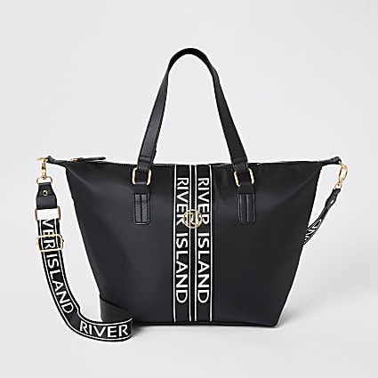Girls black RI shopper bag