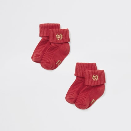 Baby red RI embroidered socks multipack