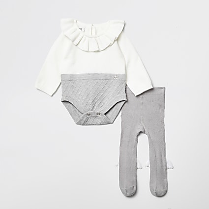 Baby grey RI frill neck baby grow outfit