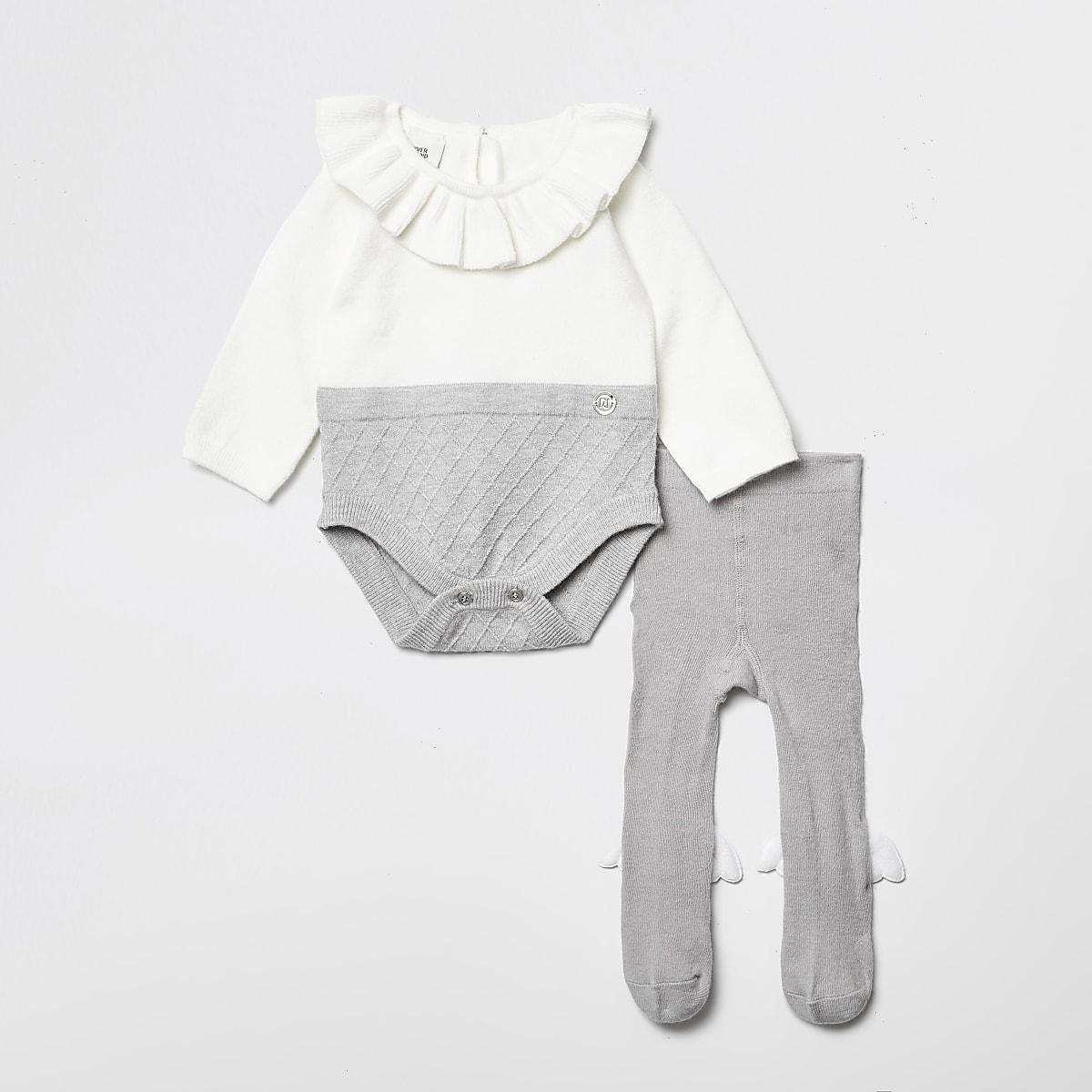 Grenouillère RI grise àvolants pour bébé