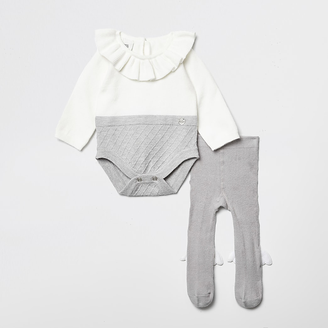 Baby grey RI frill neck baby outfit