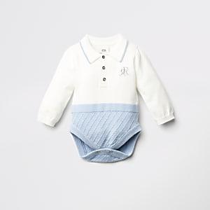 Blauwe gebreide RI bodysuit voor baby's