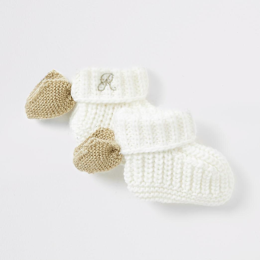 Baby cream angel wing sock booties