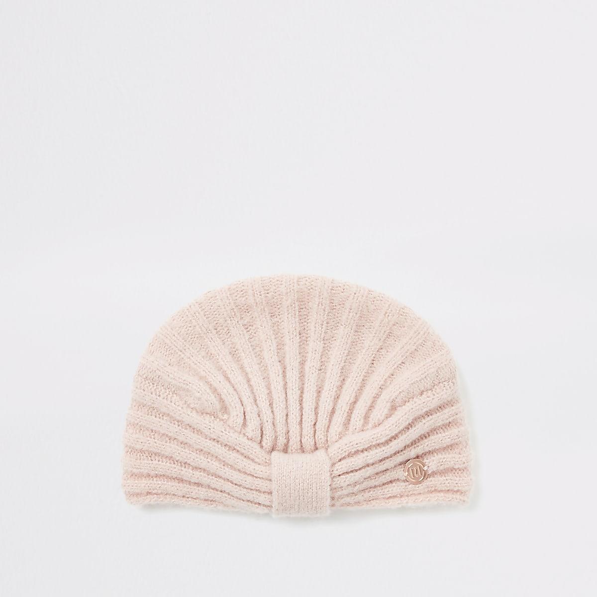 Roze geribbelde gebreide tulbandmuts voor baby's