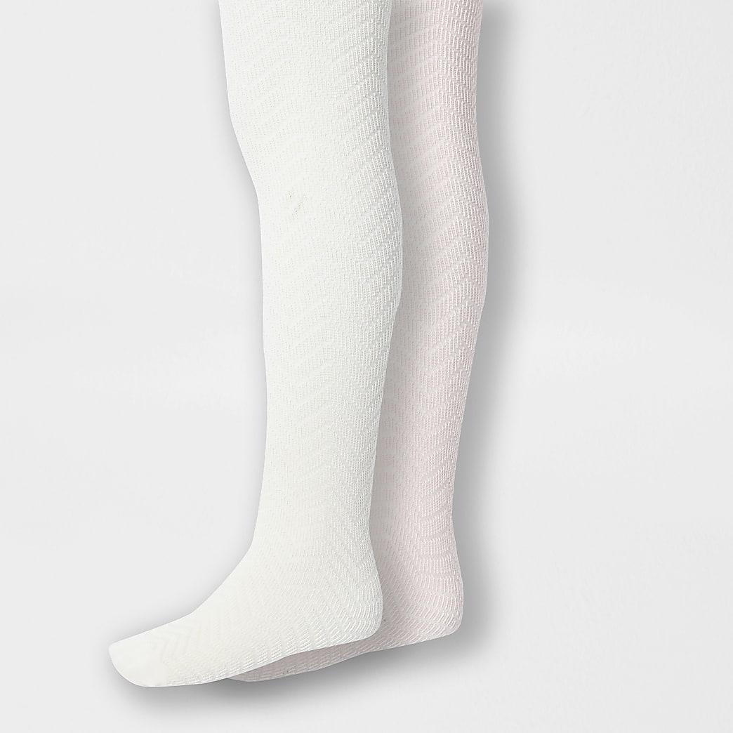 Mini - 2 paar crème gebreide maillots voor meisjes