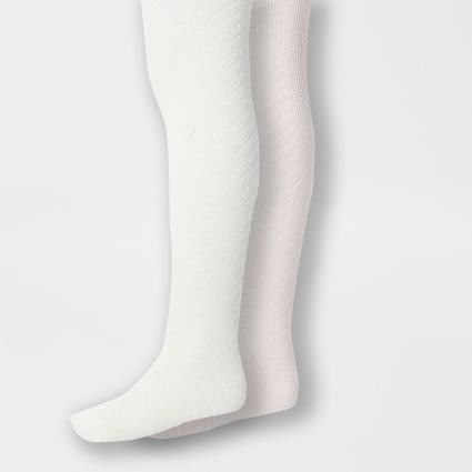 Mini girls cream knitted 2 pack tights