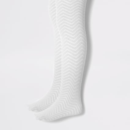 Mini girls grey knitted tights