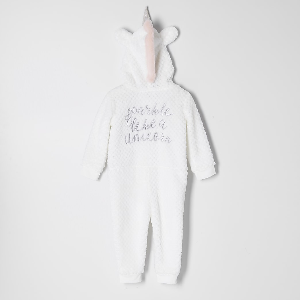 Mini girls white unicorn onesie