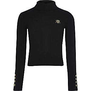 Girls black RI roll neck top