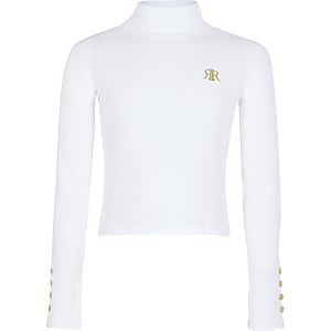 Girls white RI roll neck top