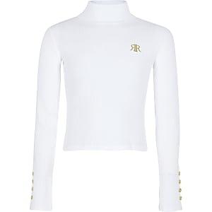 Witte top met col en RI-logo voor meisjes