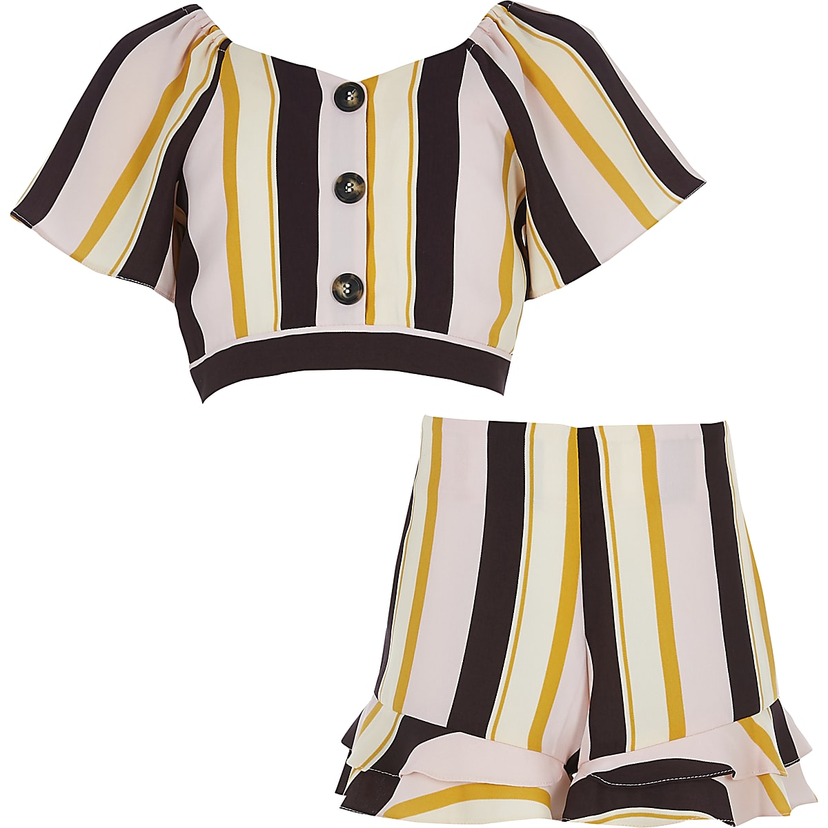 Girls pink stripe top and short outfit