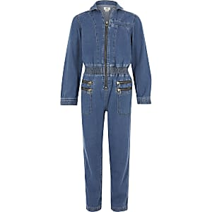 Girls blue utility jumpsuit