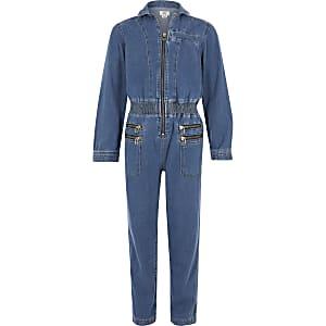 Girls blue utility jumpsuit
