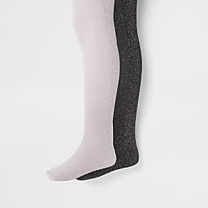 Girls black glitter 2 pack tights