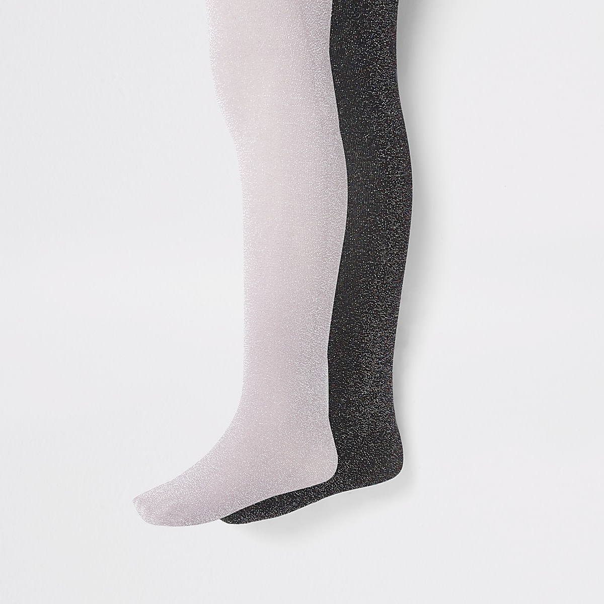 Girls black glitter 2 pack tights