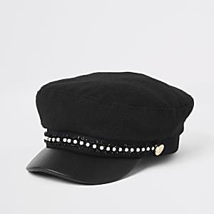 Casquette gavroche noire bordée de perles pour fille