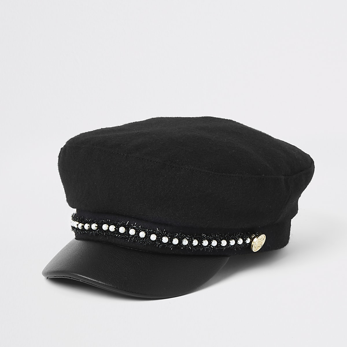 Girls black faux pearl trim baker boy hat