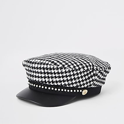 Girls black dogtooth check baker boy hat