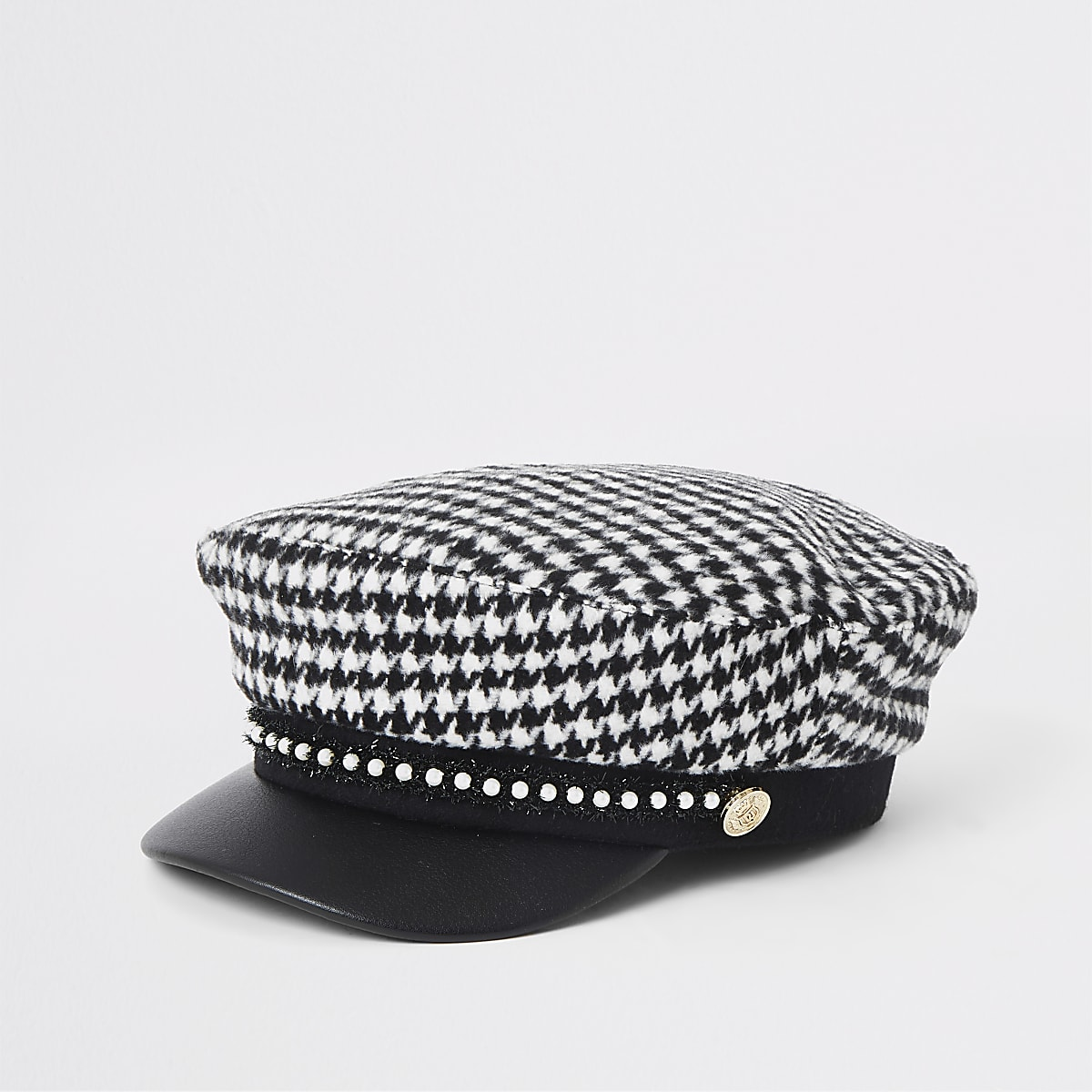 Zwarte geruite bakerboy-pet met pied-de-poule-motief voor meisjes