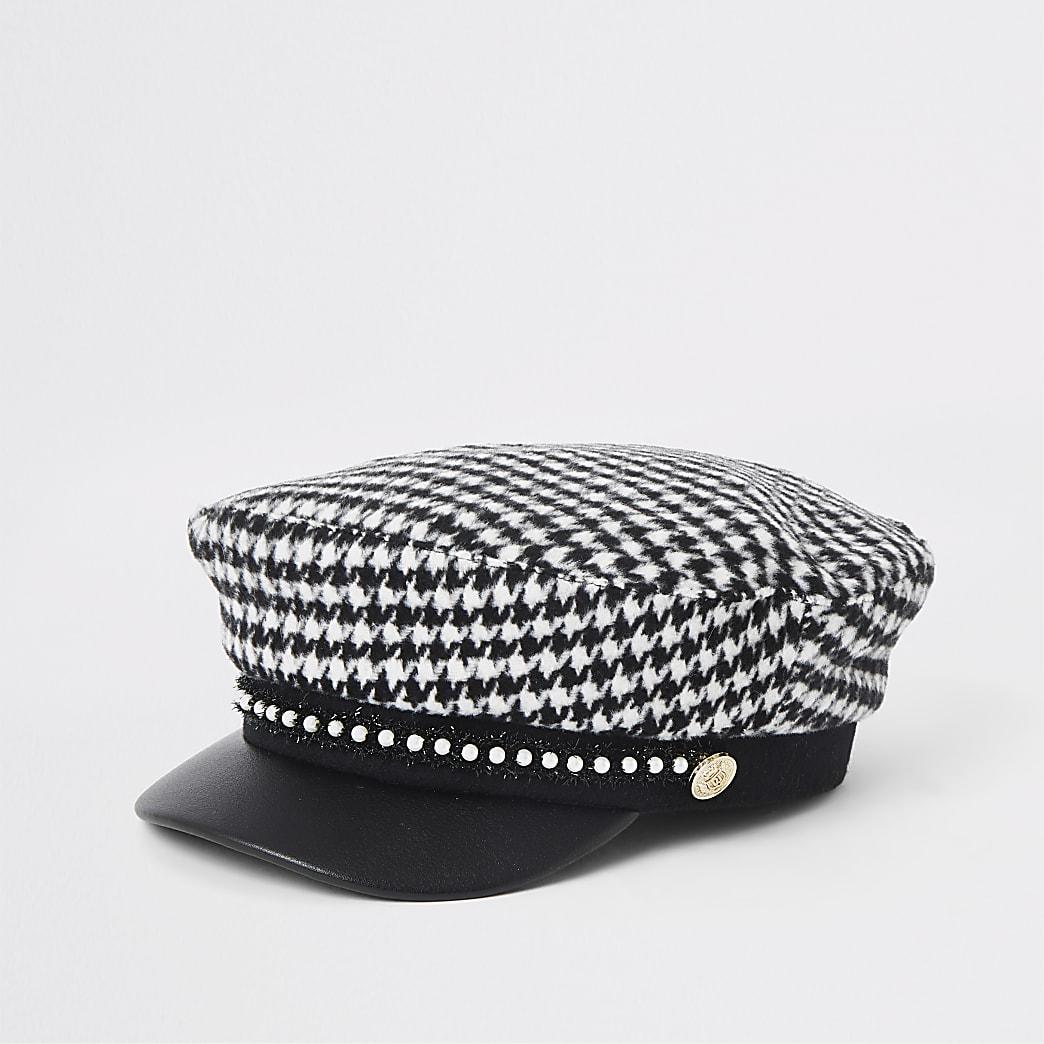 Girls black dogtooth check baker boy hat
